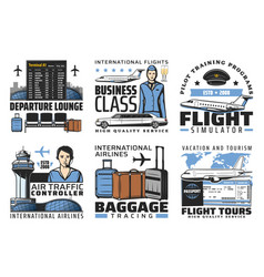 airport and aviation flight service icons vector image
