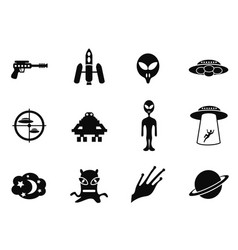 Alien and ufo icons set vector