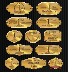 anniversary golden labels collection 1 year vector image