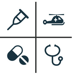Antibiotic icons set collection review stand vector