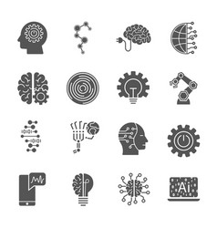 artificial intelligence different icons set ai vector image
