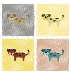 assembly flat shading style icons pet dog vector image