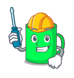 Automotive mug mascot cartoon style vector