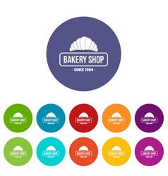 bakery icons set color vector image