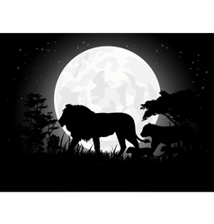 Beautiful Lion family silhouettes with giant moon vector image