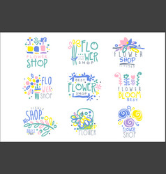 best flower shop set logo templates hand drawn vector image