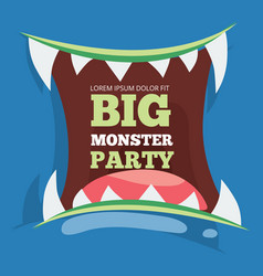 Big monster party banner with monster vector