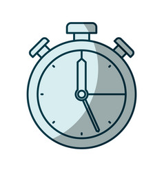 blue shading silhouette of stopwatch icon vector image