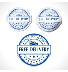 Blue stamp with the text free delivery written vector image