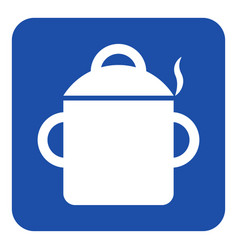 Blue white sign - cooking pot with smoke icon vector