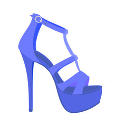 Blue woman sandal icon flat style vector