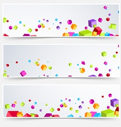 Bright cube web header footer set vector image