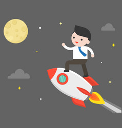 Business man riding rocket flying to the moon vector