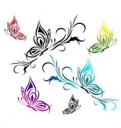butterflies with a flower pattern vector image
