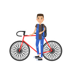 Cheerful sportsman near red bike banner vector