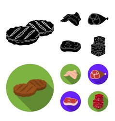 Chicken wings ham raw steak beef cubes meat vector