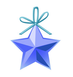 christmas toy in form a blue five-pointed vector image