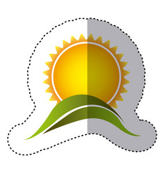 Color sticker with sun over green hill close up vector