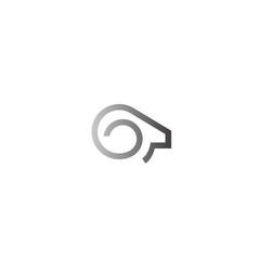 Creative abstract ram horn head logo symbol vector