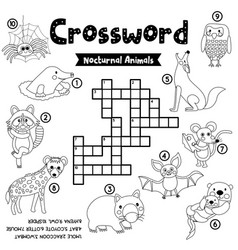 Crossword puzzle nocturnal animals coloring vector