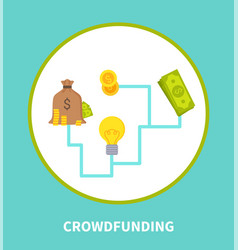 Crowdfunding scheme colorful vector