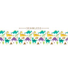 Cute dino horizontal seamless border vector