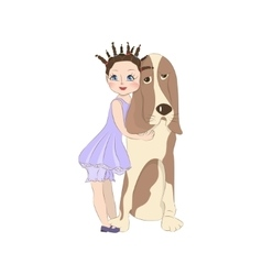 Cute little girl with dog vector