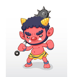 cute style red japanese demon standing vector image