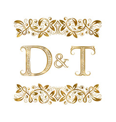 D and t vintage initials logo symbol the letters vector