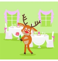 Deer Lover Isolated in Restaurant on Background vector image