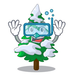 diving firs with snow on character tree vector image