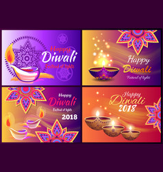 Diwali sale set posters vector