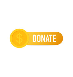 Donate concept hand and money button in flat vector