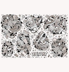 doodles cartoon set of diet food vector image