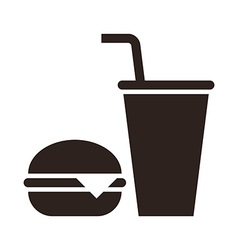 Fast food Hamburger and drink icon vector image