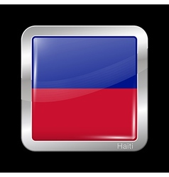 Flag of Haiti Metal Icon Square Shape vector