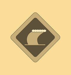 Flat icon on background tsunami sign vector
