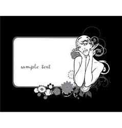 Floral frame with vintage girl vector