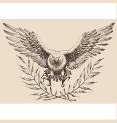 Flying eagle laurel wreath emblem vector