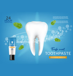 Fresh mint toothpaste realistic special vector