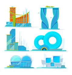 futuristic buildings set flat pictures of vector image