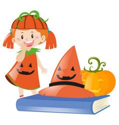 Girl in halloween costume as pumpkin vector