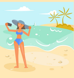 girl making selfie vector image
