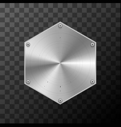Glossy metal industrial plate in hexagon shape on vector