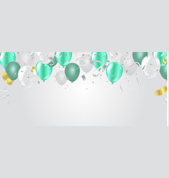 green and white balloons on white background vector image
