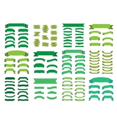 Green banners big set Beautiful blank decoration vector image