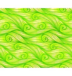 Green curled waves seamless pattern vector image
