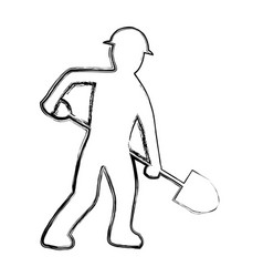 Grunge pictograph laborer with shovel equipment vector