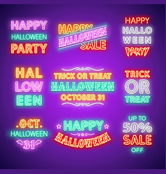 halloween neon letterings set vector image