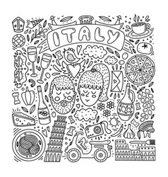 hand drawn italy doodle set vector image